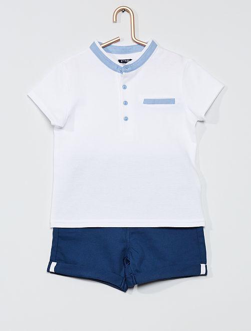 Ensemble polo + short                                         blanc/bleu