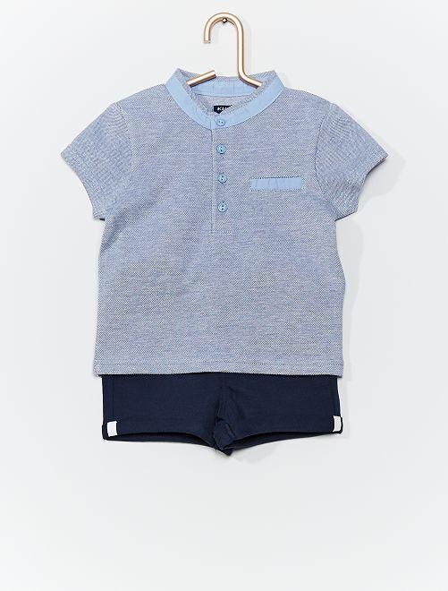 Ensemble polo + short                     bleu