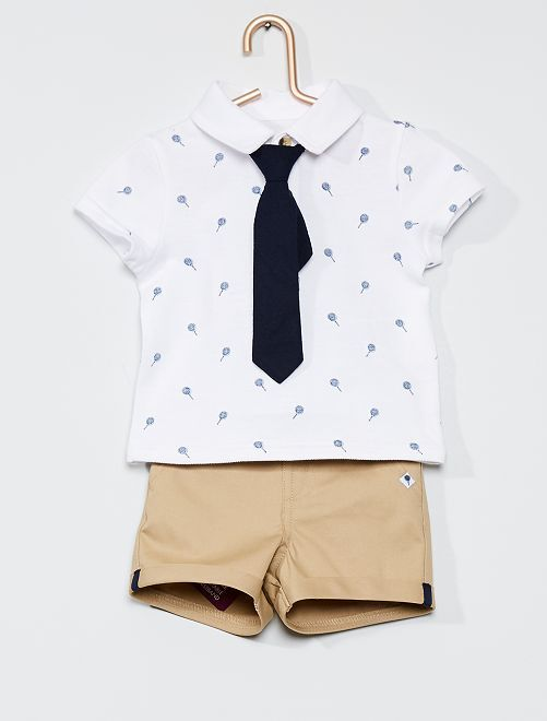 Ensemble polo + short + cravate                             blanc/beige/bleu marine