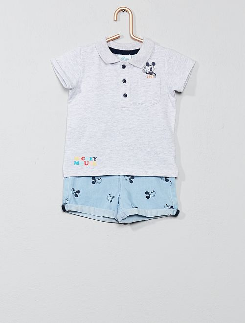 Ensemble polo + short en denim 'Mickey'                             gris