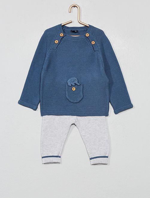 Ensemble pull + pantalon 'éco-conception'                             bleu/gris Bébé garçon