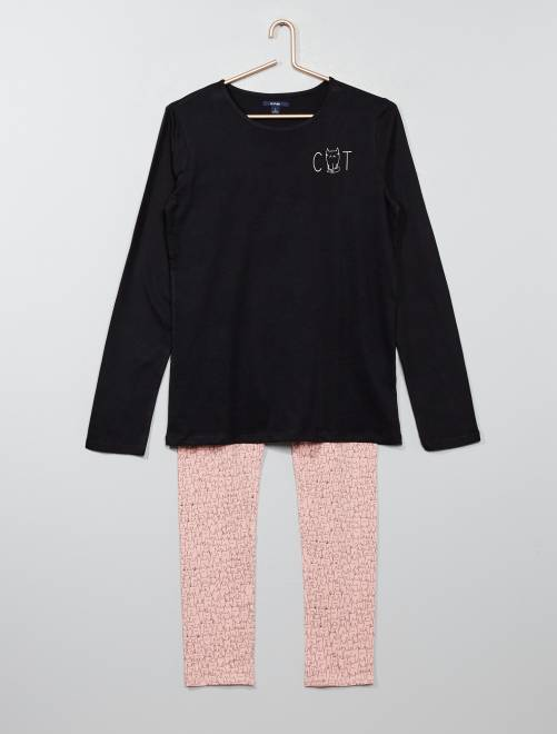 Ensemble pyjama coton                                         noir/rose Fille adolescente