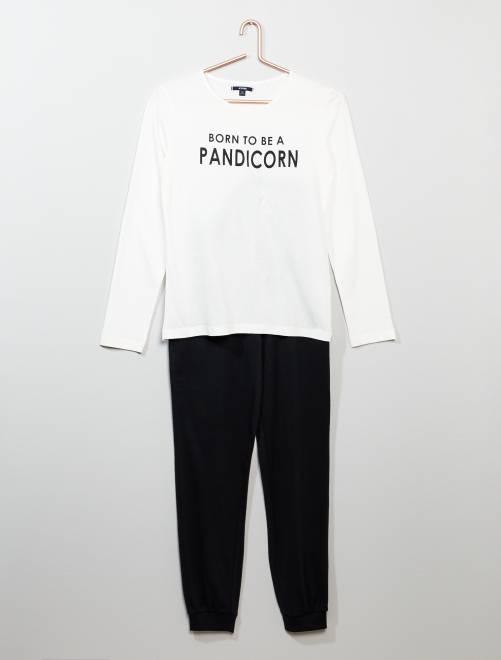 Ensemble pyjama en coton                             noir/blanc Fille adolescente