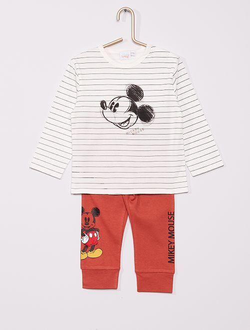 Ensemble pyjama 'Mickey' de 'Disney'                                                     blanc/rouille
