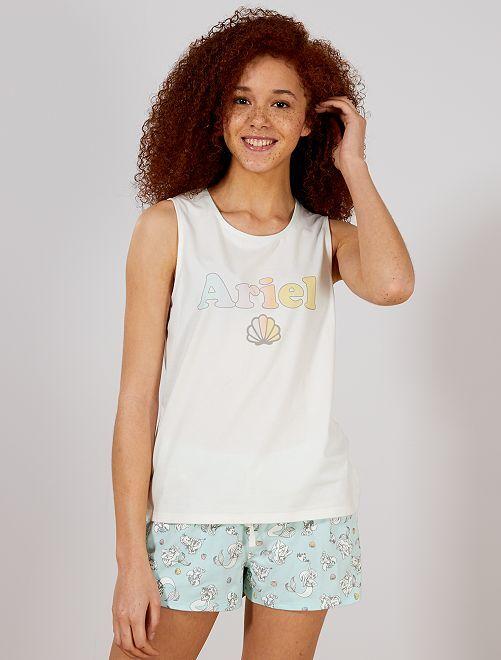 Ensemble pyjashort 'La petite sirène' de 'Disney'                                         blanc/bleu