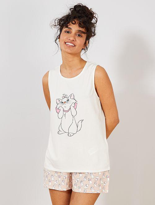 Ensemble pyjashort 'Marie' des 'Aristochats'                                         blanc/rose