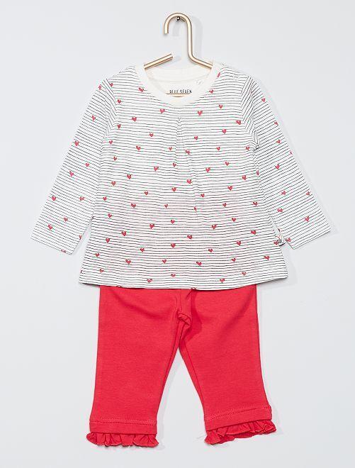 Ensemble robe + body + pantalon                             rose/blanc