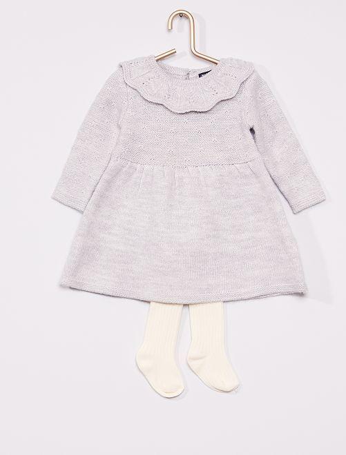 Ensemble robe + collants                                         gris/écru