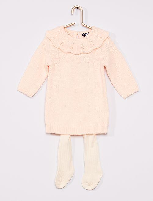 Ensemble robe + collants                             rose/écru