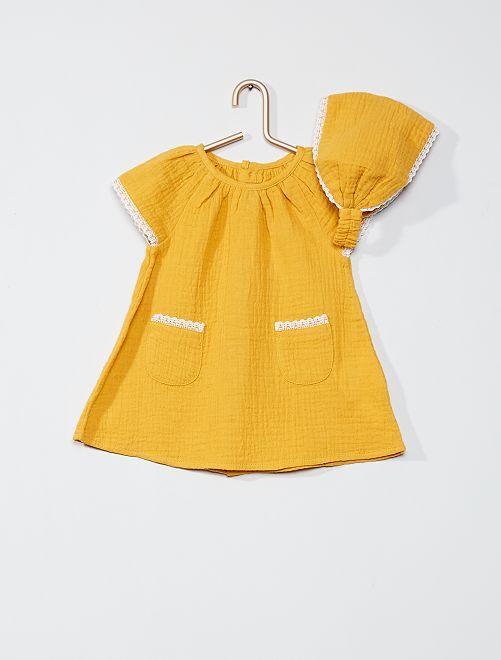 Ensemble robe + culotte + bandeau                                         jaune
