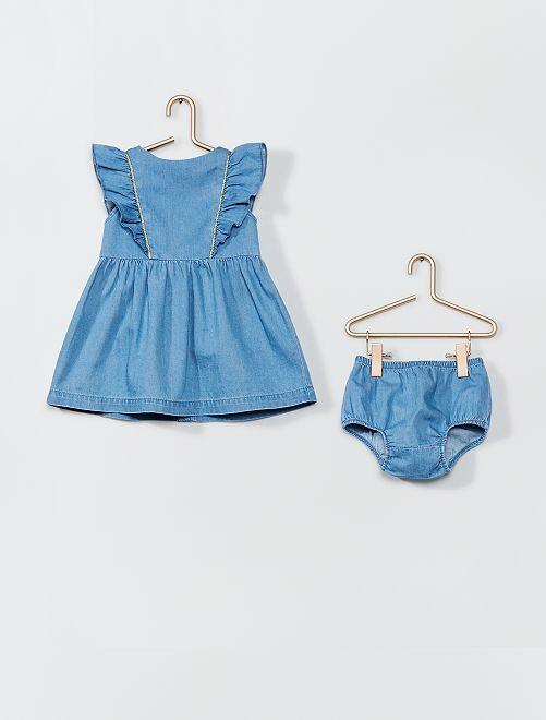 Ensemble robe + culotte en denim                             bleu