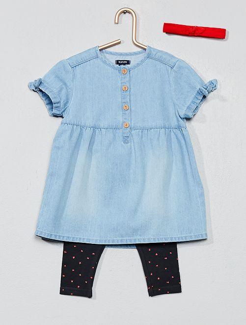 Ensemble robe + legging + bandeau                             bleu