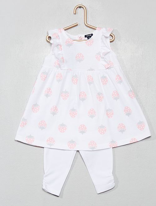 Ensemble robe + legging                             blanc