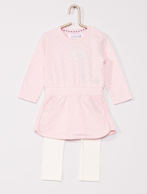 Ensemble robe + legging                             rose/blanc