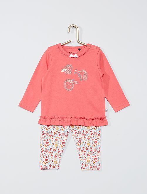 Ensemble robe + pantalon                             rose