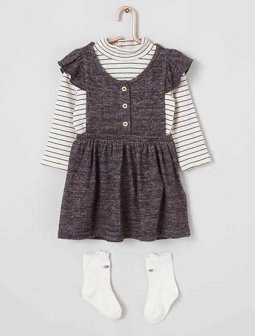 Ensemble robe + sous pull + chaussettes hautes                                         rayé/gris
