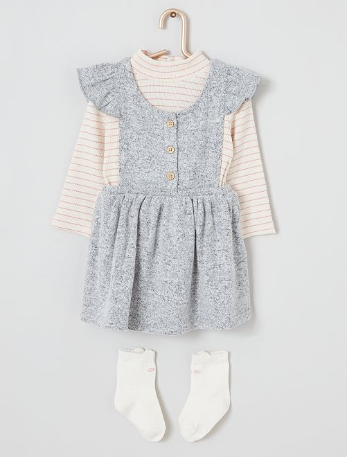 Ensemble robe + sous pull + chaussettes hautes                                         rayé/rose