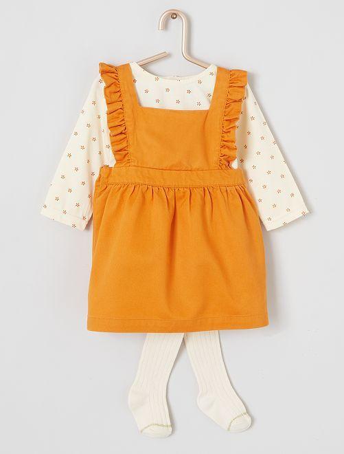Ensemble robe + t-shirt + collants 'éco-conçu'                             écru/orange