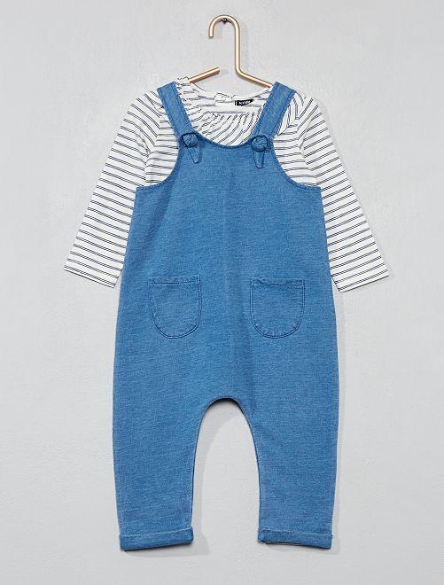 Ensemble salopette et t-shirt pur coton                             bleu Bébé fille