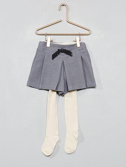 Ensemble short + collants                                         gris/écru