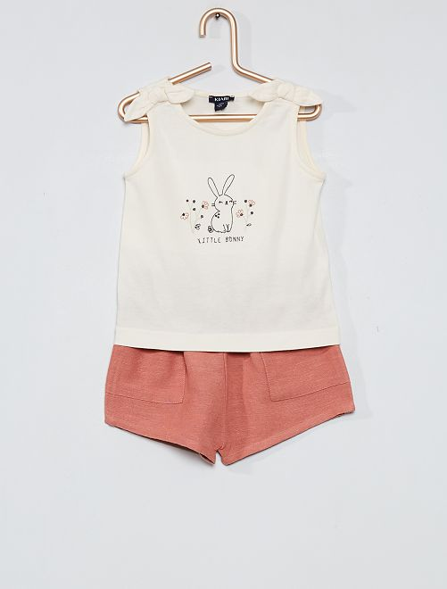 Ensemble short + débardeur                             ecru/rose