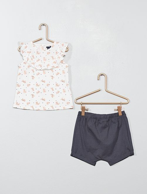 Ensemble short + t-shirt 'chat'                                         écru/gris