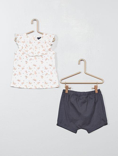 Ensemble short + t-shirt 'chat'                                         écru/gris Bébé fille