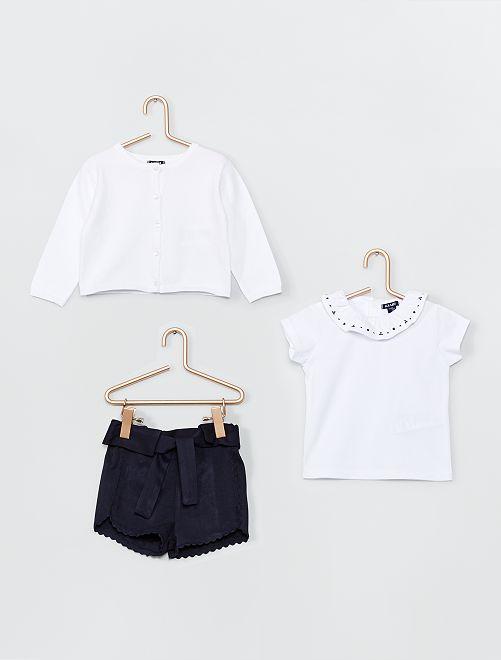 Ensemble short + t-shirt + gilet                             blanc/bleu