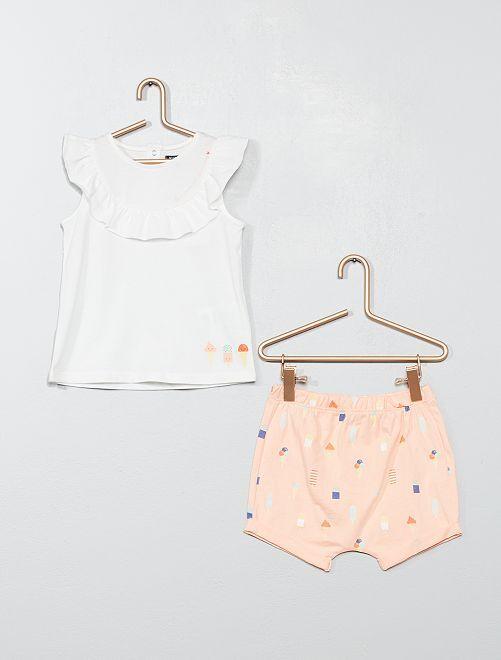 Ensemble short + t-shirt 'glace'                                         écru/rose Bébé fille