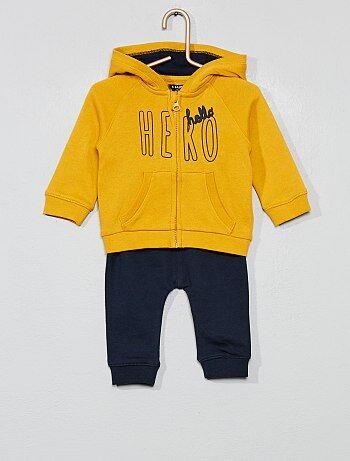 b619b9f905bdd Garçon 0-36 mois - Ensemble sweat à capuche + pantalon de jogging - Kiabi