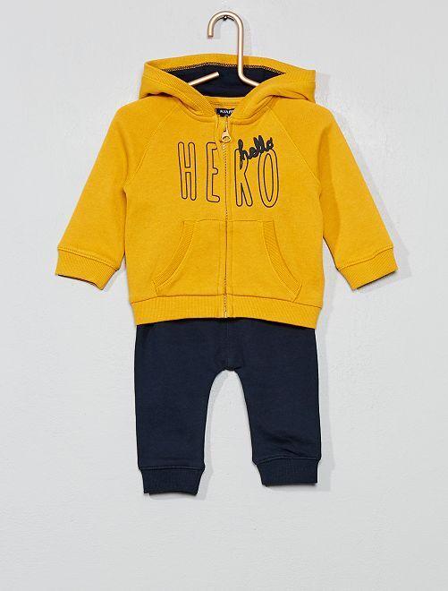Ensemble sweat à capuche + pantalon de jogging                                                     jaune/noir Bébé garçon