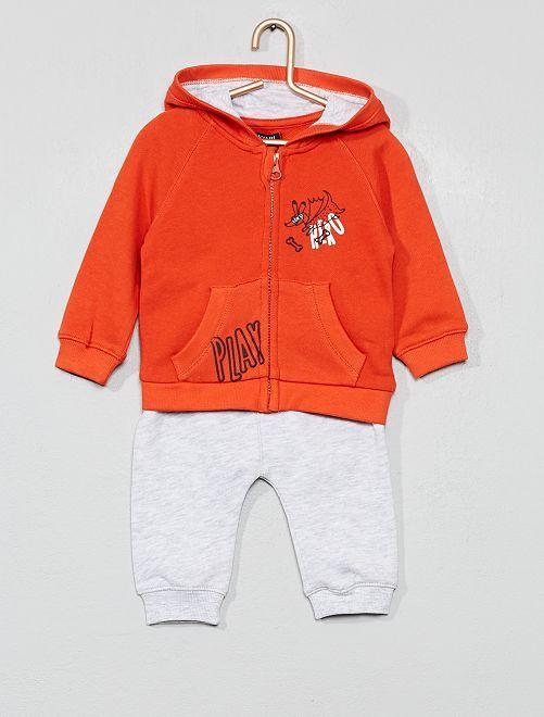 Ensemble sweat à capuche + pantalon de jogging                                                     orange/gris chiné
