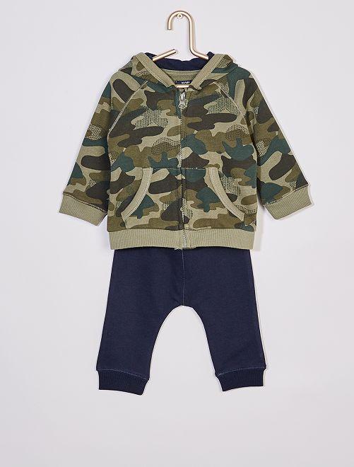 Ensemble sweat capuche zippé + pantalon éco-conçu                                 kaki/marine