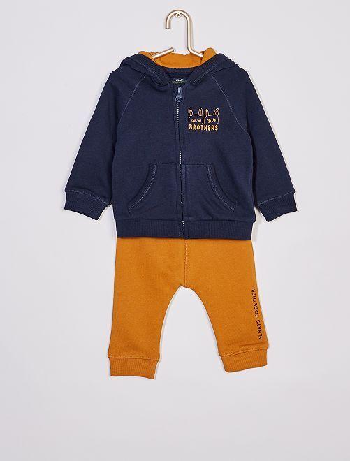 Ensemble sweat capuche zippé + pantalon éco-conçu                                         marine/ocre