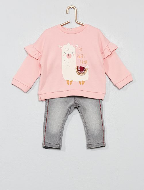 Ensemble sweat + jean                                         rose Bébé fille