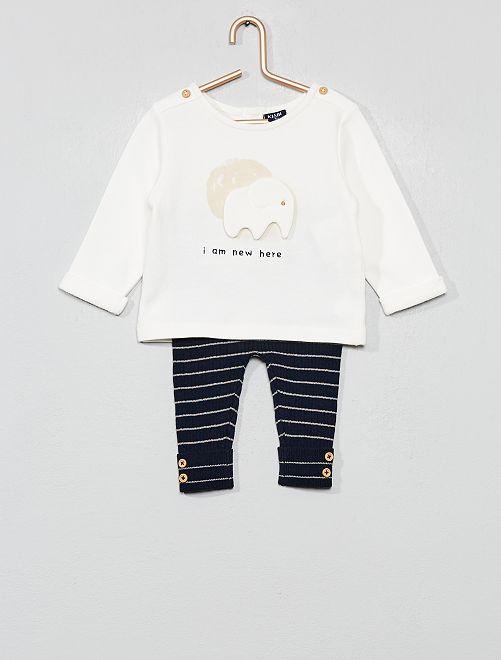 Ensemble sweat + legging côtelé 'Eco-conception'                             écru/marine Bébé garçon