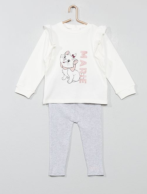 Ensemble sweat + legging 'Les Aristochats'                             BLANC