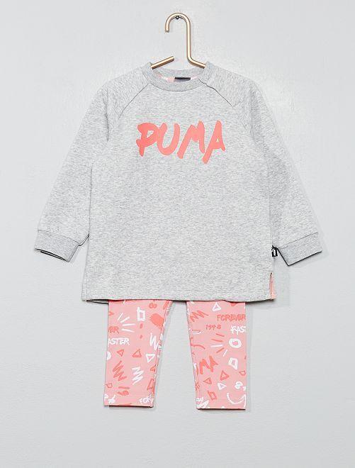 Ensemble sweat long + legging 'Puma'                             gris chiné/rose Bébé fille
