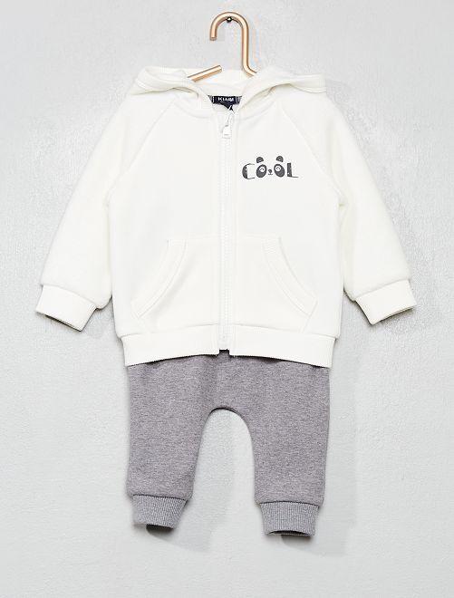 Ensemble sweat + pantalon                                                     blanc/gris