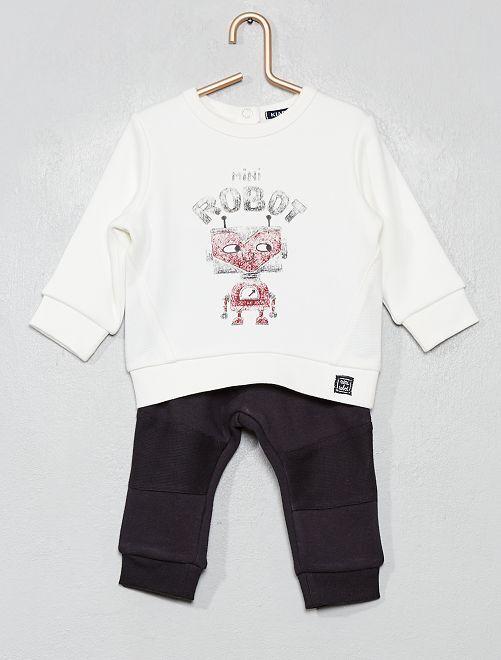 Ensemble sweat + pantalon                                         blanc/noir