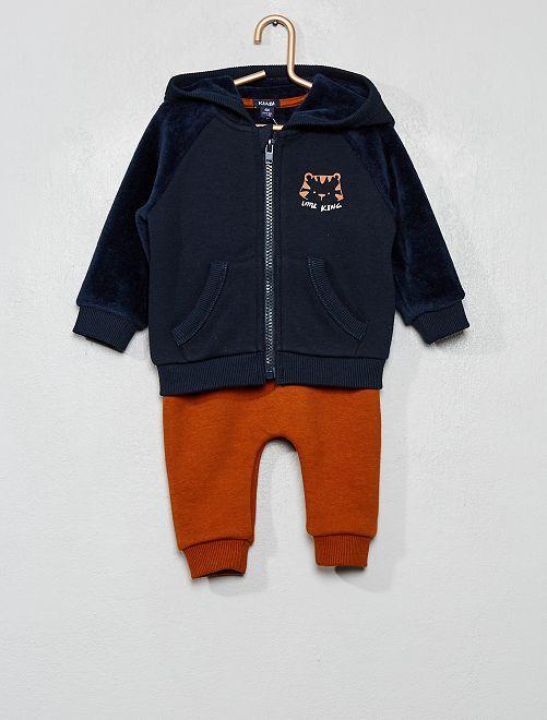 Ensemble sweat + pantalon                                 bleu marine/marron