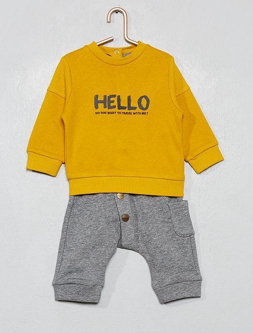 Ensemble sweat + pantalon doublé polaire                                         jaune/gris