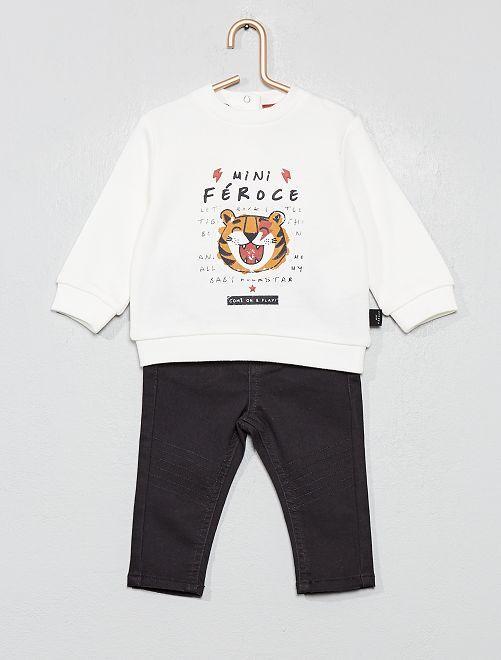 Ensemble sweat + pantalon                             écru
