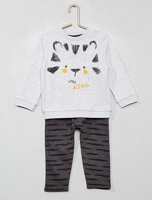 Ensemble sweat + pantalon en molleton                                                                                         gris/tigre
