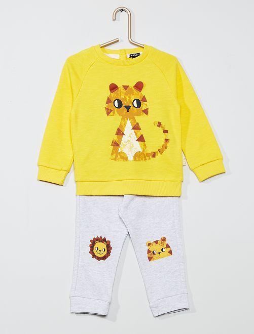 Ensemble sweat + pantalon en molleton                     jaune