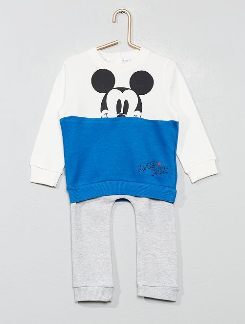 Ensemble sweat + pantalon 'Mickey'                             blanc/bleu Bébé garçon