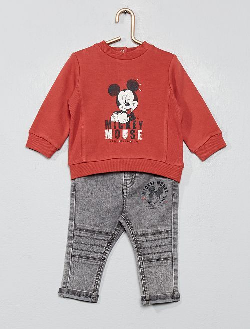 Ensemble sweat + pantalon 'Mickey'                             rouge/gris