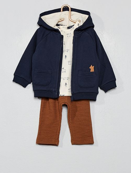 Ensemble sweat + t-shirt + pantalon                             bleu / beige / marron