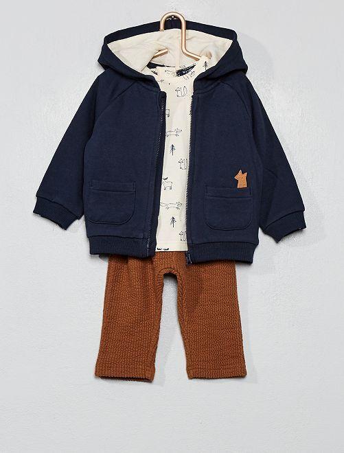Ensemble sweat + t-shirt + pantalon                             bleu / beige / marron Bébé garçon