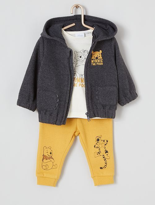 Ensemble sweat + t-shirt + pantalon                             jaune/gris/blanc